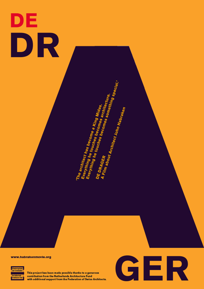 Movie poster of De Drager. The icon is a large letter A on orange background.