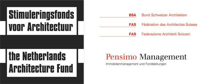 An image showing the logos of our sponsors: Stimuleringsfonds voor Architekctuur (The Netherlands Architecture Fund) / Bund Schweizer Architekten / Pensimo Management AG